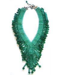 Helene Zubeldia - Green Crystal & Glass Beads Dangling Necklace - Lyst