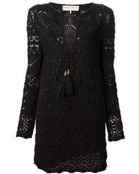 Emilio Pucci - Black Crocheted Short Cotton Dress - Lyst