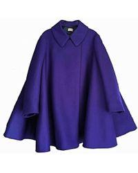 Alaïa - Alaia Felted Wool Babydoll Cape Coat In Indigo - Lyst