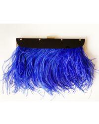 BCBGMAXAZRIA - Portia Blue Feather-trim Lucite Clutch - Lyst
