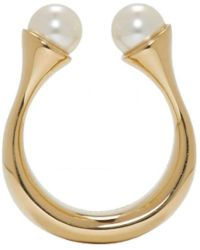 Chloé - 'darcey' Brass Open Pearly Ring Size 6.5 - Lyst