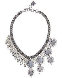 BCBGMAXAZRIA - Half Gemstone Spiked Necklace - Lyst