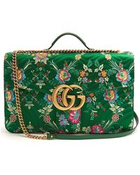 bf6e30b21 Gucci Small Gg Marmont Matelasse Floral Jacquard Chain Shoulder Bag in Green  - Lyst