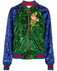 Gucci - Appliquéd Sequinned Tulle And Satin Bomber Jacket - Lyst
