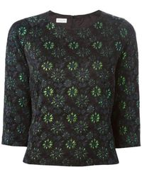 Dries Van Noten - Black & Green Brocade Metallic Top - Lyst
