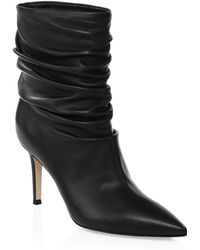 Gianvito Rossi - Gathered Leather Booties - Lyst