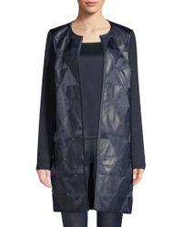 St. John - Mod Metallic Knit Topper Jacket W/ Beading & Leather Detail - Lyst