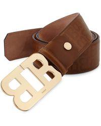 Bally - Mirror B Cigar Stamped Leather Belt - Lyst