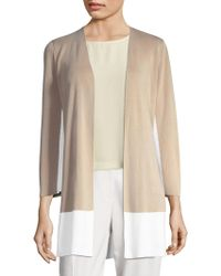 Eileen Fisher - Color Block Open Front Cardigan - Lyst
