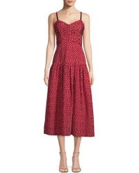 Rebecca Taylor - Blurry Heart Silk Tank Dress Crimson, Size 4 - Lyst