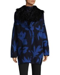 Fuzzi - Fur Collar Palm Cocoon Coat - Lyst