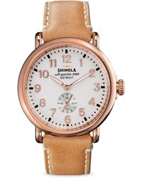 Shinola - Runwell Rose Goldtone Pvd Stainless Steel & Leather Strap Watch - Lyst