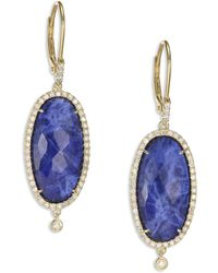 Meira T - Sodalite, Diamond & 14k Yellow Gold Drop Earrings - Lyst