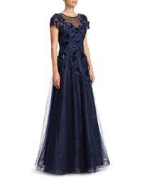 Teri Jon - Cap-sleeve Appliqué Tulle A-line Gown - Lyst