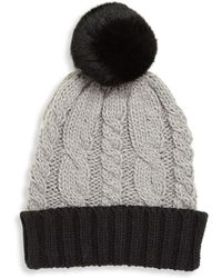 Surell - Girl's Rabbit Fur Pom-pom Cable-knit Hat - Lyst