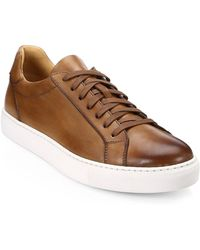 Saks Fifth Avenue - Collection By Magnanni Burnished Leather Lace-up Trainer - Lyst