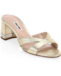 Miu Miu - Metallic Crystal Block Heel Sandals - Lyst