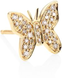 Sydney Evan - Butterfly Diamond & 14k Yellow Gold Single Stud Earring - Lyst