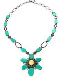 Bavna - Diamond Silver Necklace - Lyst