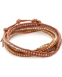 Chan Luu | Tri-tone Beaded Leather Multi-row Wrap Bracelet | Lyst