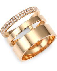 Repossi - Diamond Pavé 18k Rose Gold Layered Ring - Lyst