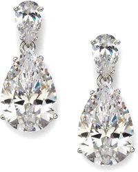 Adriana Orsini - Sterling Silver Pear Drop Earrings - Lyst