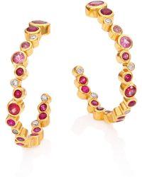 Gurhan - Pointelle Diamond, Multi-stone & 24k Yellow Gold Hoop Earrings/1.2 - Lyst