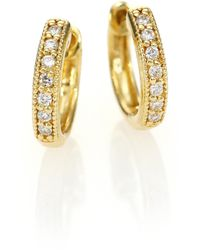 Jude Frances - Classic Diamond & 18k Yellow Gold Huggie Hoop Earrings/0.5 - Lyst