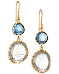Lena Skadegard - Moss Aquarmaine, Rutilated Quartz & 18k Yellow Gold Drop Earrings - Lyst
