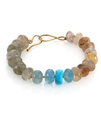 Lena Skadegard - Turquoise, Rutilated Quartz & Aquamarine Beaded Bracelet - Lyst