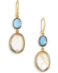 Lena Skadegard - Moss Aquamarine, Rutilated Quartz & 18k Yellow Gold Double-drop Earrings - Lyst