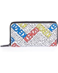 KENZO - Essentials Logo-print Faux Leather Zip Continental Wallet - Lyst