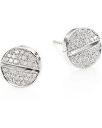 Marli - Verge 18k White Gold & Diamond Studs - Lyst