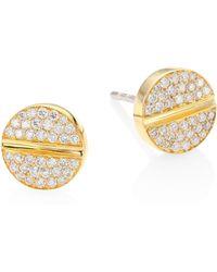 Marli - Verge 18k Yellow Gold & Diamond Studs - Lyst