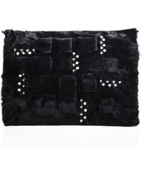 Saks Fifth Avenue - Embellished Lamb Fur Clutch - Lyst