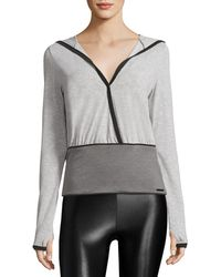 Blanc and Noir - Ballet Hooded Faux Wrap Top - Lyst