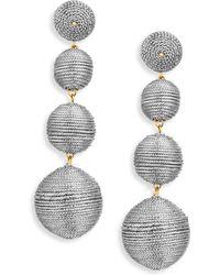 Kenneth Jay Lane Thread Triple-Drop Ball Earrings, Black