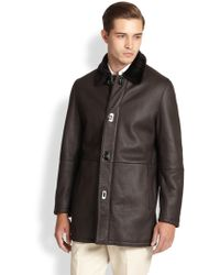 Ferragamo Leather & Lamb Shearling Coat in Brown for Men | Lyst