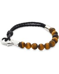 Saks Fifth Avenue - Collection Stainless Steel, Leather & Lapis Beads Bracelet - Lyst
