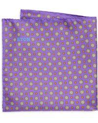 Eton of Sweden - Purple Floral Medallion Pocket Square - Lyst