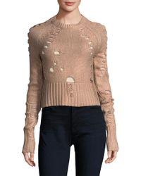 Zoe Jordan - Distressed Foil Wool And Cashmere Jumper - Lyst