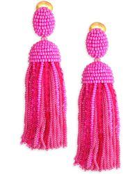 Oscar de la Renta - Short Beaded Silk Tassel Earrings - Lyst
