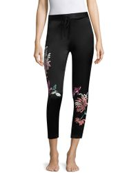 Natori - Chrysanthemum Embroidered Trousers - Lyst