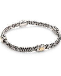 John Hardy - Classic Chain Hammered 18k Yellow Gold & Sterling Silver Four-station Extra-small Bracelet - Lyst