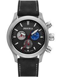 Brera Orologi | Eterno Chrono Stainless Steel & Leather Chronograph Strap Watch/black | Lyst
