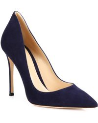 b4372a8c78a2 Gianvito Rossi - Women s Ellipsis High-back Suede Point Toe Pumps - Black -  Size