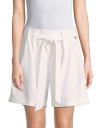 St. John - Stretch Twill Tie-front Shorts - Lyst