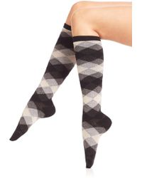 Ilux - Dana Diamond Knee-high Socks - Lyst