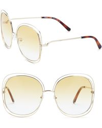 Chloé - Carlina 60mm Oversized Round Sunglasses - Lyst