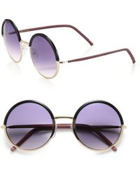 Cutler & Gross - 54mm Leather-trimmed Round Sunglasses - Lyst